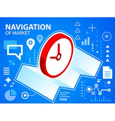 Bright navigate map and clock on blue backgr vector