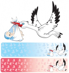 Banners with stork delivering baby vector