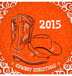 Western new year with cowboy boots and western hat vector