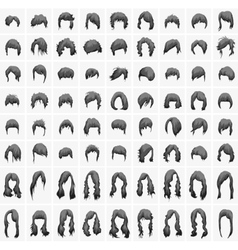 Women hairstyles and haircuts in black tones vector