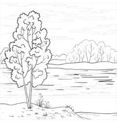 Landscape forest river outline vector