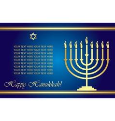 Happy hanukkah wish card vector