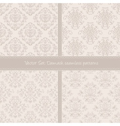 Damask floral textile light creamy pattern vector