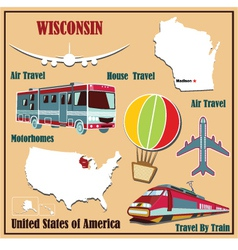 Flat map of wisconsin vector