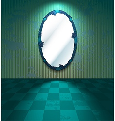 Grungy room with mirror vector