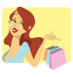 Cute redhead woman with shopping bags vector