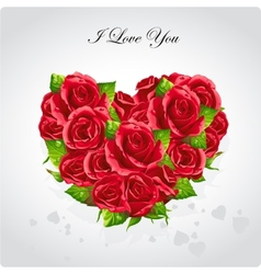 Heart of roses valentines day card vector