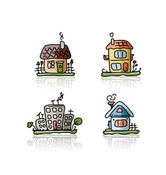 Set of houses sketch for your design vector