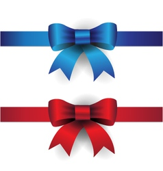 Blue red ribbon bows vector