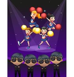 Four cheerdancers dancing with spotlights vector