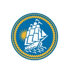 Sailing tall ship galleon retro vector