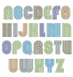 Stripy light contemporary poster uppercase letters vector
