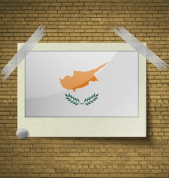 Flags cyprus at frame on a brick background vector
