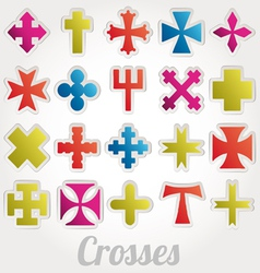Set crosses various religious symbols vector