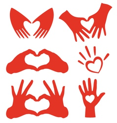 Heart hands set vector