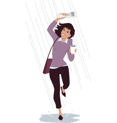 Caught in the rain vector