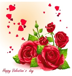 Card for valentines day red roses vector