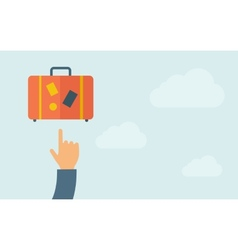 Hand pointing to luggage vector