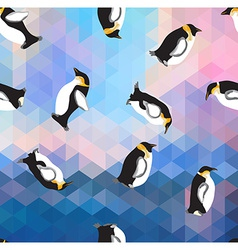 Abstract blue crystal ice background with penguin vector