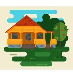 Summer landscape with house and tree in vector