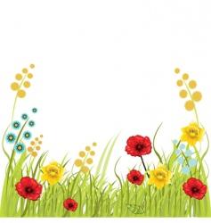 Flower and grass vector