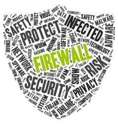 Firewall word cloud in a shape of shield vector