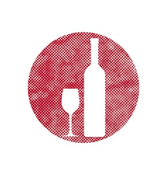 Wine icon with pixel print halftone dots texture vector