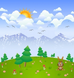 Cloudy day landscape vector