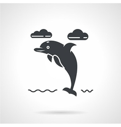 Black silhouette icon for dolphin vector