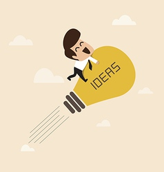 Businessman on a moving lightbulb idea rocket vector