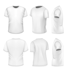 All six views mens white short sleeve t-shirt vector