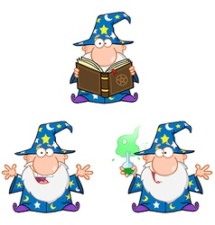 Wizard cartoon characters collection vector