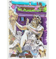 Original marker painting of rome italy cityscape vector