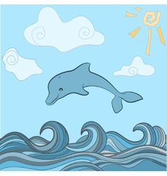 Dolphins in blue sea wave vector
