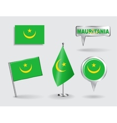 Set of mauritanian pin icon and map pointer flags vector