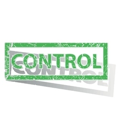 Green outlined control stamp vector