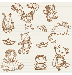 Hand drawn toys vector