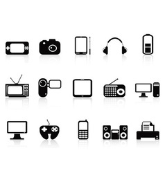 Black electronic objects icons set vector