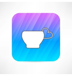 Mug with a handle in the shape of heart vector