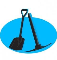Shovel and pick axe vector