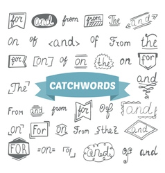 Hand drawn set catchwords design elements vector