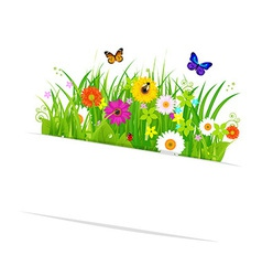 Paper sticky with grass and flowers vector