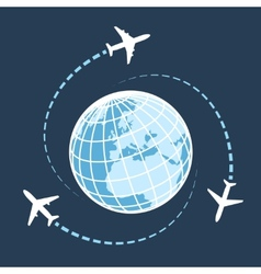 Traveling around the world by air transport vector