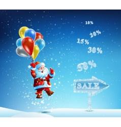 Santa claus in a hurry to sell and discounts vector