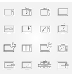 Set of tv repair service icons vector