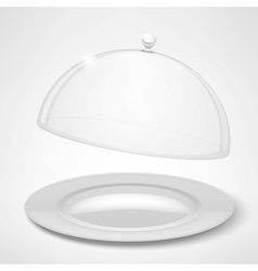 Food tray restaurant cloche vector