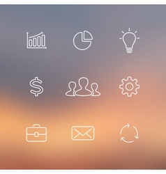 Set of flat line business icons blur vector