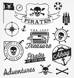 Pirate design elements in vintage style vector