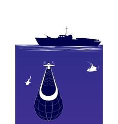 Anti-submarine ship vector