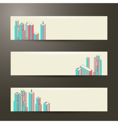 Banners set of three cityscape background vector